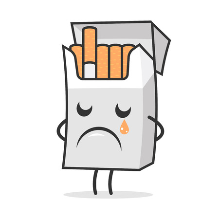 cigarette pack: Cigarette pack weeps and sad