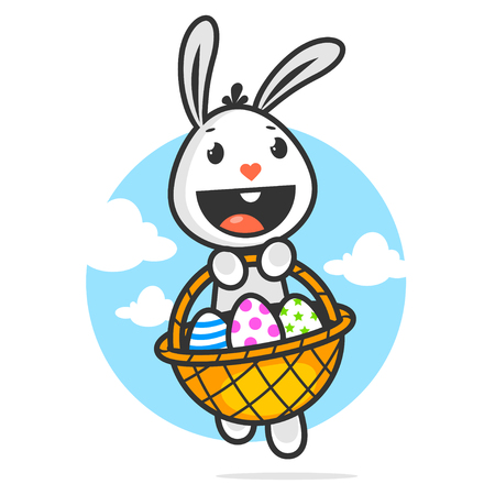 white rabbit: Happy easter bunny holds basket with eggs