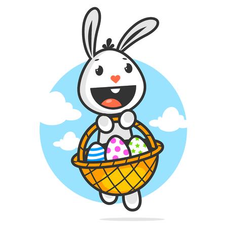 lapin blanc: Lapin de Pâques heureux détient panier avec des oeufs