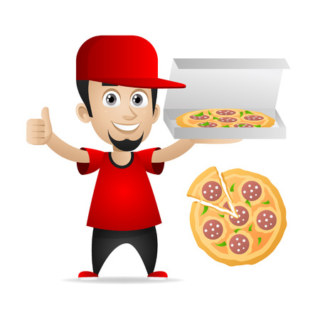 Man holds pizza and showing thumbs up Vector