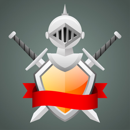 crusades: Shield medieval knight helmet crossed swords Illustration