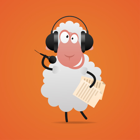 Cheerful sheep in headphones singing in microphone Vector