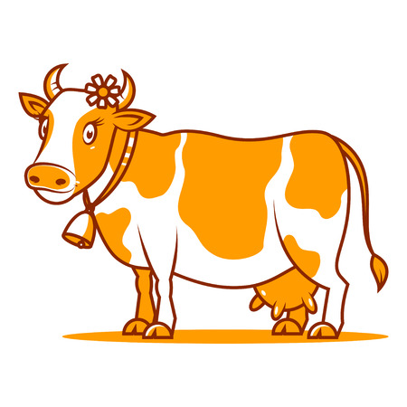calas blancas: Bueno sonriendo vaca Vectores