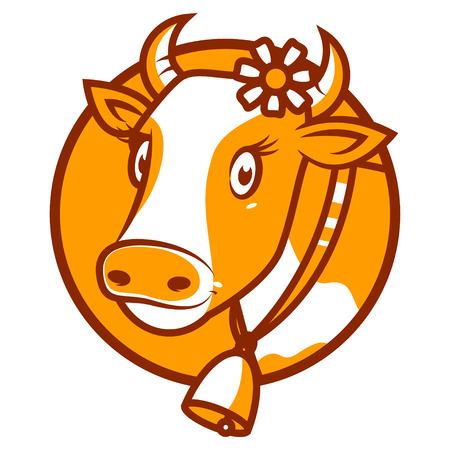 Good cow smiling emblem Иллюстрация