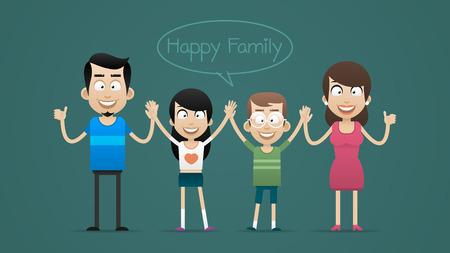手を繋いでいる笑顔と幸せな家族  イラスト・ベクター素材