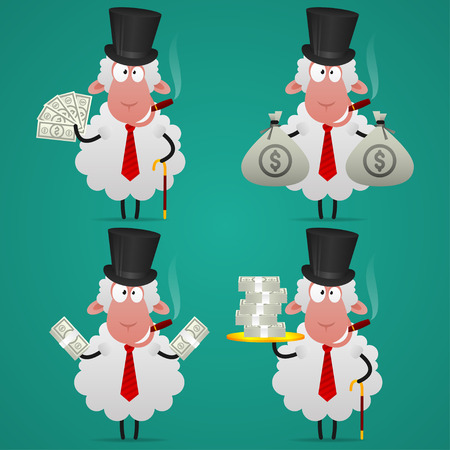 Set sheep banker in different poses Vector