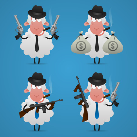 異なる姿勢でセット羊ギャング  イラスト・ベクター素材