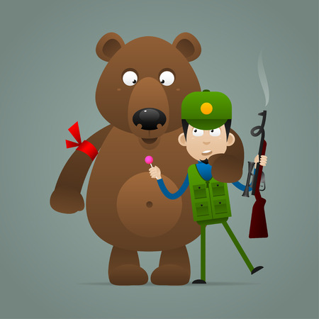 wildlife shooting: Concept bear holds frightened hunter