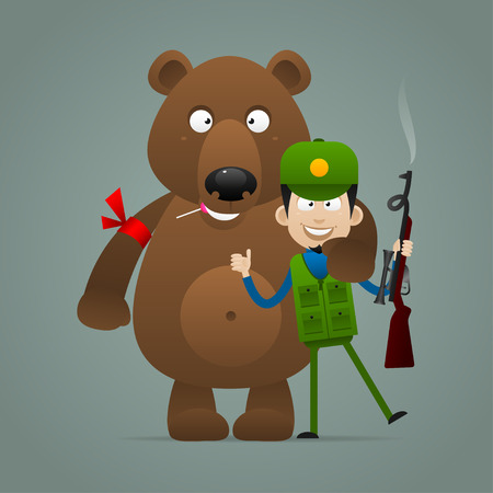 Concept bear holds hunter and smiling