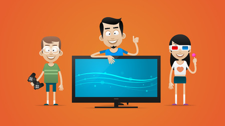bought: Happy family bought new plasma television Illustration