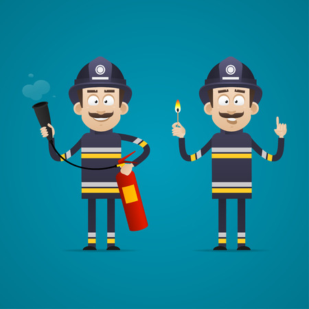 Fireman holds fire extinguisher and burning match Ilustracja