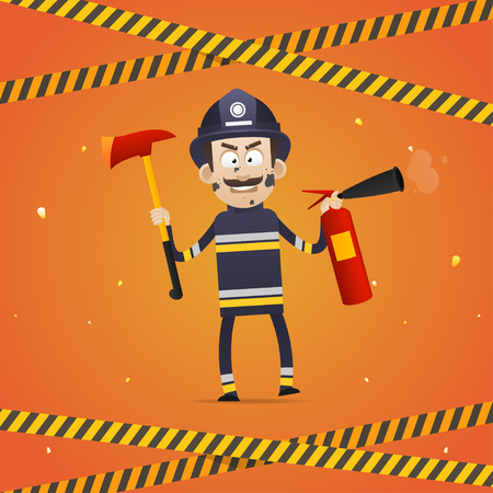 Fireman holds fire extinguisher and firefighter ax Vector