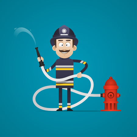 Fireman holds fire hose and smiling Vector