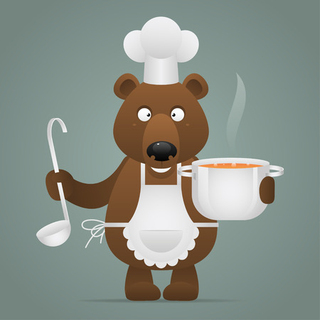 Lunchtime bear holds pan and ladle Vector