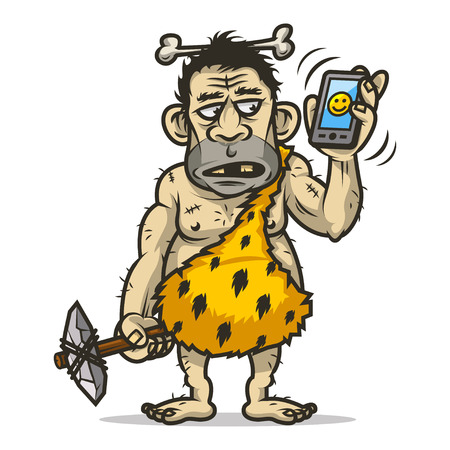 neanderthal: Neanderthal man holds mobile phone