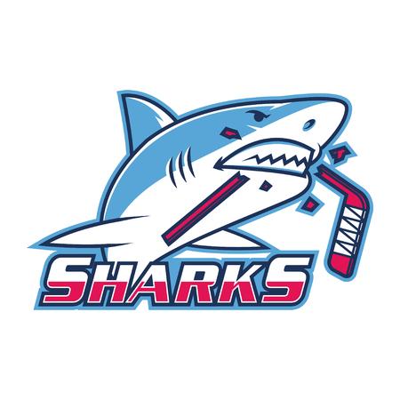 star mascot: Emblem shark bites hockey stick