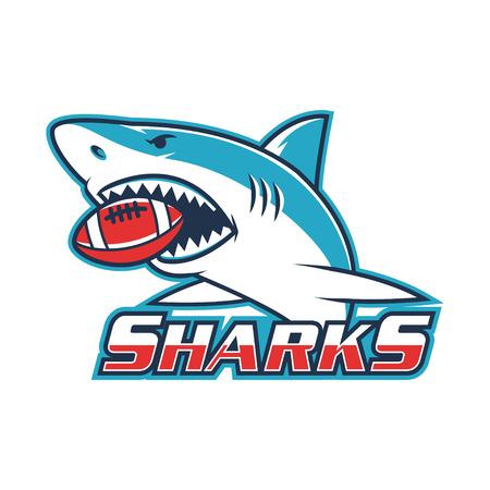 エンブレム サメを彼の口にボールを保持します。  イラスト・ベクター素材