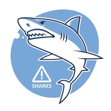 cartoon shark: Evil se�al de advertencia de tiburones