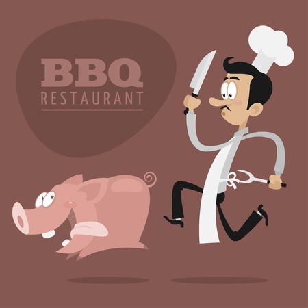 BBQ 레스토랑 개념의 요리사가 돼지를 실행
