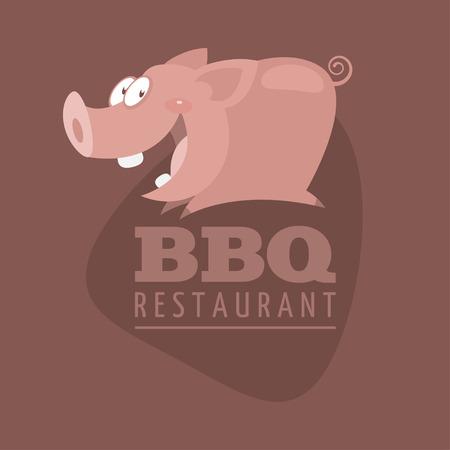 バーベキュー レストラン エンブレム豚  イラスト・ベクター素材