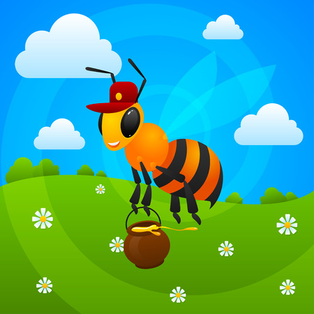 Summer bee holds jar with honey Vector