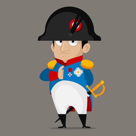 francia: Personaje de dibujos animados de Napoleón Bonaparte Vectores