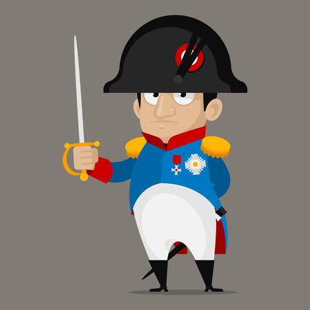 frances: Personaje de dibujos animados Napoleón Bonaparte sostiene la espada Vectores