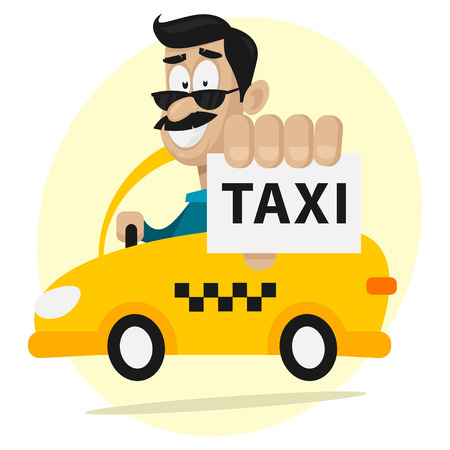 Taxi driver moves by car and smiling Vector