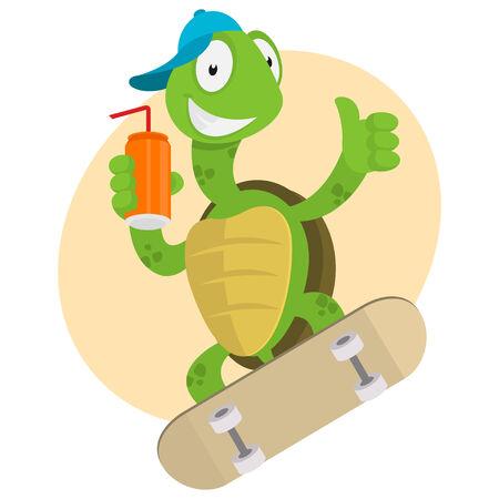 Turtle drinks juice and ride on skateboard Illustration