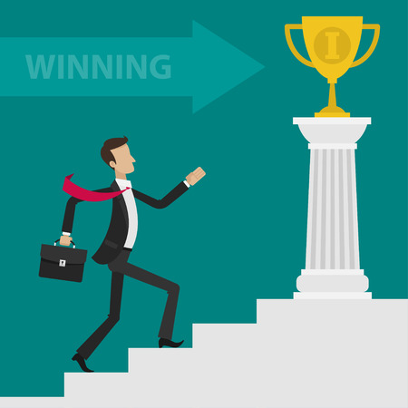 Concept businessman career ladder cup
