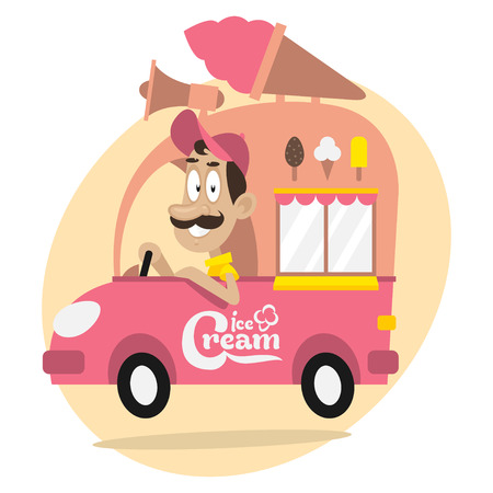 Ice cream truck and cheerful driver Vector