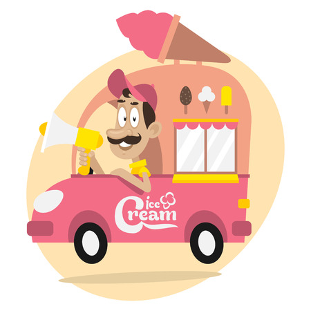 truck driver: Ice cream truck and driver with loudspeaker Illustration