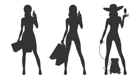 clip art women: Silhouette glamor business woman shopping