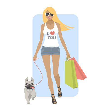 caminar: Joven mujer caminando con perro pug Vectores