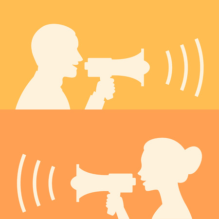 2 objects: Woman and man says in loudspeaker