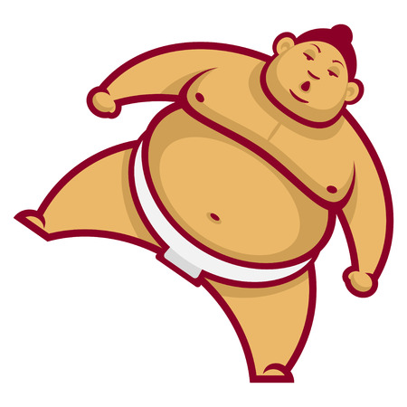 Sumo wrestler with raised leg Vector