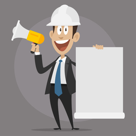 construction worker cartoon: Character builder happy speaks in megaphone