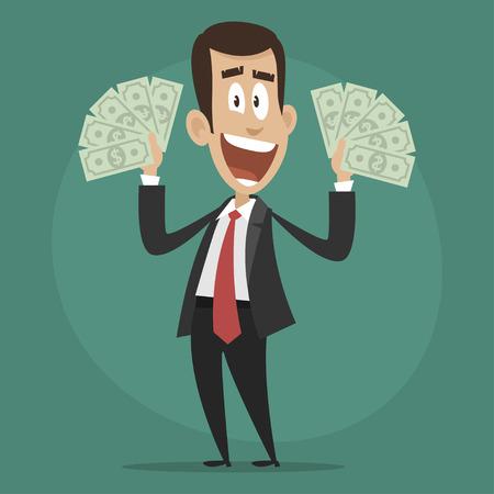 Character businessman happy holds dollar bills