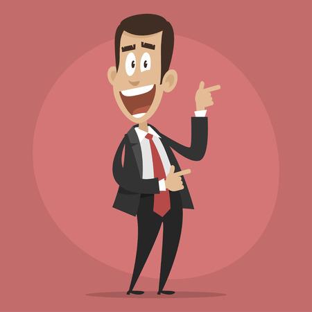 Empresario Carácter puntos felices hacia Ilustración de vector