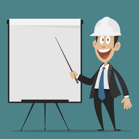 Cheerful builder points to flipchart Ilustracja