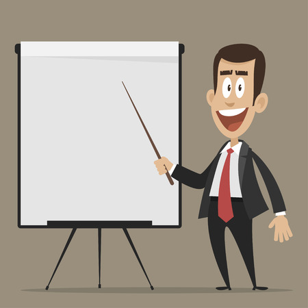 Cheerful businessman points to flipchart Ilustrace