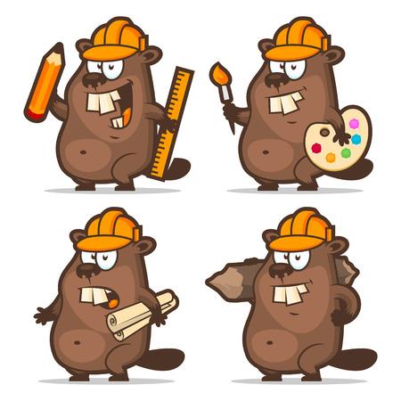 Beaver designer painter engineer builder Illustration