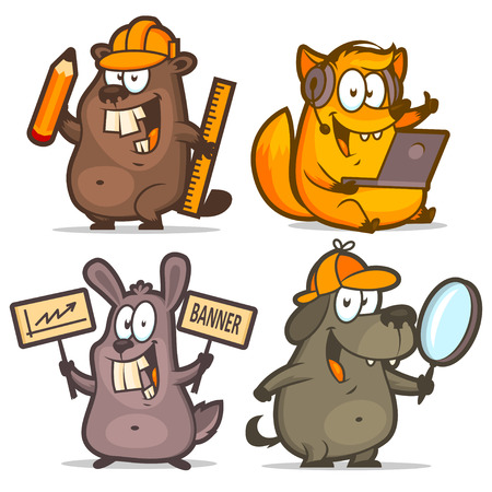Beaver fox rabbit dog business concept