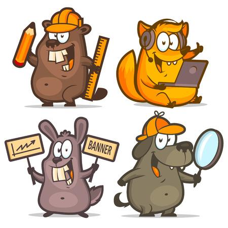 plan de accion: Concepto de negocio Beaver perro zorro conejo