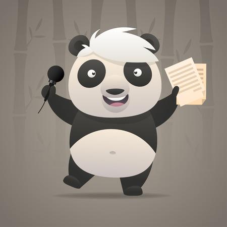 Cheerful panda sings songs and dances Vector