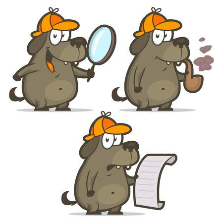 Dog detective smoking pipe list Illustration