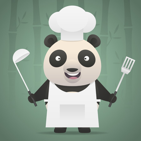 Panda chef holds soup ladle and shovel Vector