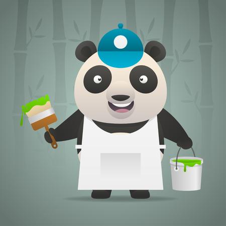 Panda painter holds brush bucket of paint Vector