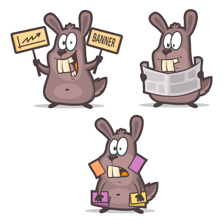 newspaper cartoons: Rabbit business cards newspaper advertisement Illustration