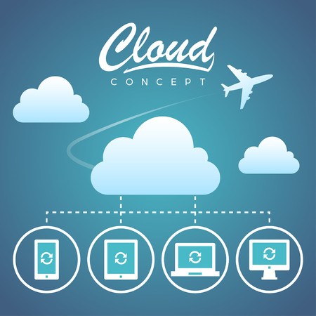 note pc: Cloud concept communication and devices